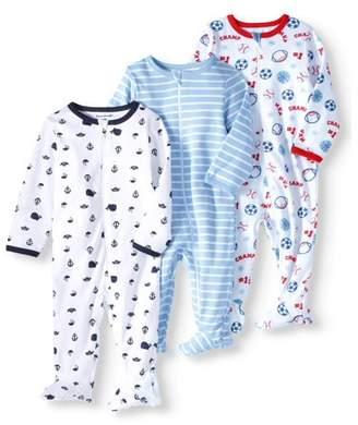 N. Garanimals Newborn Baby Boys' Inverted Zipper Sleep Play Pajamas, 3pk