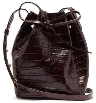 Mansur Gavriel Mini Crocodile Effect Leather Bucket Bag - Womens - Dark Brown