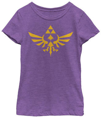 Fifth Sun Nintendo Legend Of Zelda Blue Royal Crest Girls Crew Neck Short Sleeve Graphic T-Shirt - Preschool / Big Kid Slim