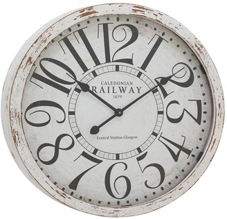 """Willow Row Large Round Railway Wood Wall Clock With Distressed White Wood Rim - 24"""" X 24"""""""