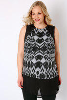 Yours Clothing Black & Grey Smudge Print Sleeveless Chiffon Top With Step Hem