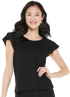 Candies Juniors' Candie's Double Flutter Sleeve Tee