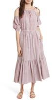 Rebecca Taylor Women's Cold Shoulder Lurex Plaid Midi Dress