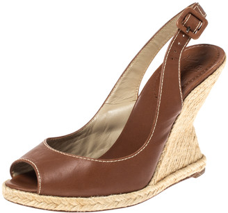 Christian Louboutin Brown Leather You Love Slingback Espadrille Wedge Sandals Size 39