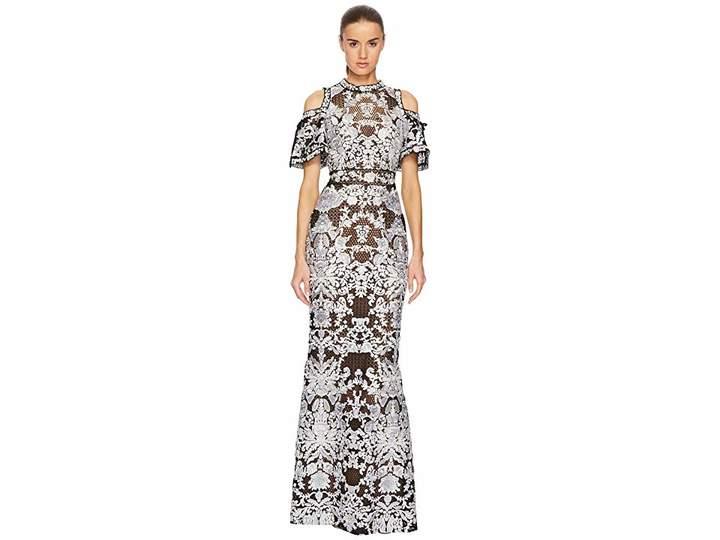 Marchesa Cold Shoulder Guipure Gown with Flounce Women's Dress