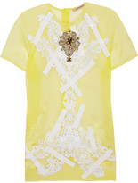Christopher Kane Lace and crystal-appliquéd silk-organza top