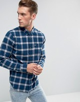 Hollister Poplin Shirt Widowpane Check Slim Fit In Navy