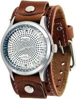 Nemesis #BSTH078S Men's Psychedelic Dial Faceted Crystal Wide Leather Cuff Band Watch