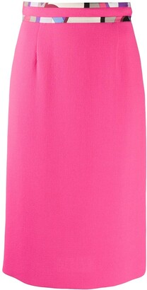 Emilio Pucci Abstract-Print Detail Pencil Skirt