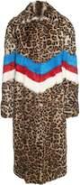 MSGM Striped Leo-print Lapin-fur Coat