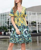Reborn Collection Women's Casual Dresses Blue - Blue & Yellow Floral Ruffle-Sleeve Dress - Women & Plus