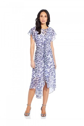 Adrianna Papell Watercolor Leopard Twist Dress In Purple Multi
