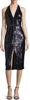 Halston Sequined Halter Dress, Black/Spruce