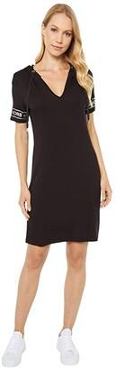 MICHAEL Michael Kors Logo Sleeve Hoodie Dress (Black) Women's Dress