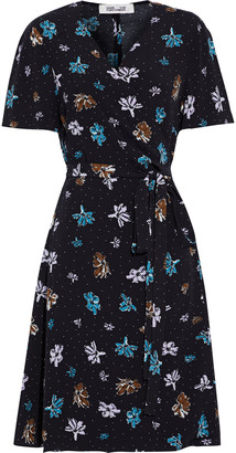 Diane von Furstenberg Savilla Printed Crepe Mini Wrap Dress