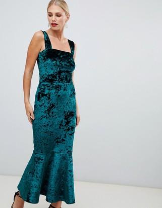True Violet velvet square neck midi boydon dress with pephem in green-Black