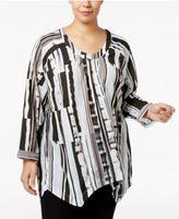 Melissa McCarthy Trendy Plus Size Handkerchief-Hem Blouse
