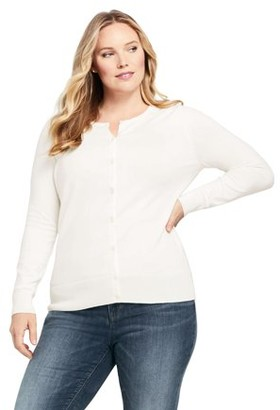 Lands' End Women's Plus Size Long Sleeve Supima Cotton Cardigan