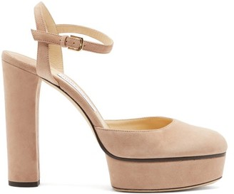 Jimmy Choo Maple 125 Suede Platform Pumps - Nude
