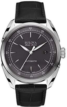 Bulova Accu Swiss Tellaro Men's Automatic Watch with Grey Dial Analogue Display and Black Leather Strap 63B188