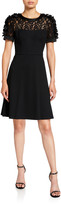 N. Shani Short-Sleeve Fit-&-Flare Dress with Flower Appliques