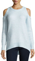 MICHAEL Michael Kors Wool-Blend Cold-Shoulder Crewneck Sweater, Light Blue