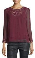 Joie Gaiane Crepe Cutout Embroidered Top