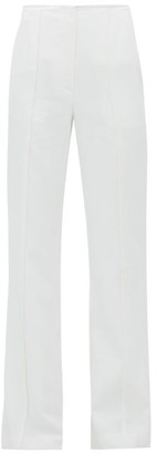 Carolina Herrera Stitched-seam Flared-leg Twill Trousers - Ivory
