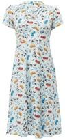 HVN Morgan Car-print Silk Midi Dress - Womens - Light Blue
