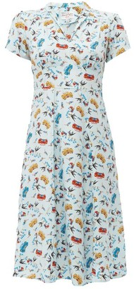 HVN Morgan Car-print Silk Midi Dress - Womens - Light Blue