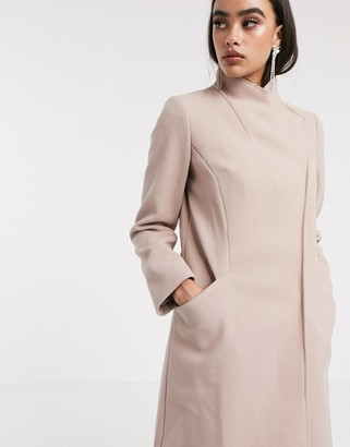 Asos DESIGN smart coat with wrap front detail in pink