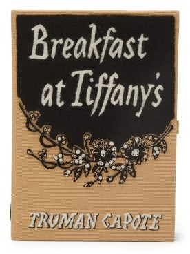 Olympia Le-Tan Breakfast At Tiffany's Embroidered Book Clutch - Black Multi