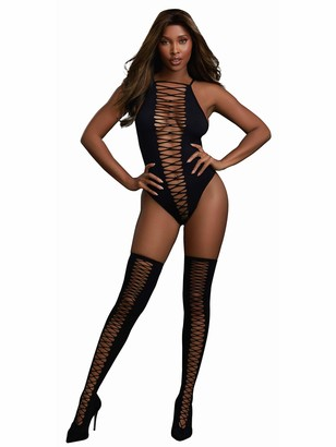 Dreamgirl Women's Opaque Seamless Criss-Cross Teddy and Matching Stockings Set