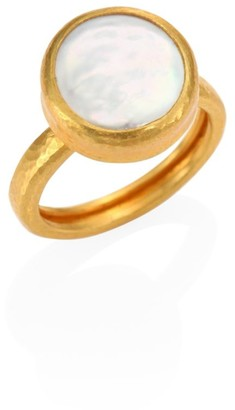 Gurhan Lentil 13MM White Biwa Pearl & 22-24K Yellow Gold Ring