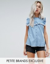 Urban Bliss Petite Button Down Smock Top With Distressed Ruffle Detail