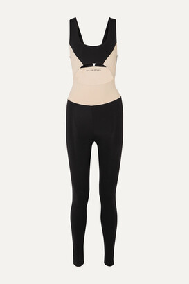 Live The Process Cutout Two-tone Stretch-supplex Bodysuit - Black
