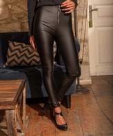 Cck Style CCK Style Women's Leggings Black - Black Zip-Front Faux Leather Skinny Pants - Women