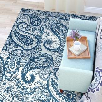 "Andover Mills Meldrum Ivory/Blue Indoor/Outdoor Area Rug Rug Size: Rectangle 5'3"" x 7'7"""