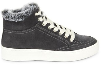 Dolce Vita Trudie Suede Calf Hair with Faux Fur Mid-Top Runners
