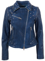 LE SENTIER - Studded blue leather jacket