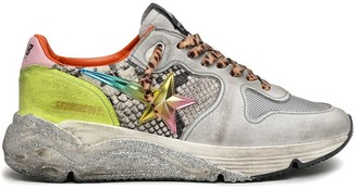 Golden Goose Running Sneaker in Rock Python/White/Titan/Rainbow/Yellow Fluo