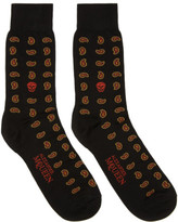 Alexander McQueen Red Mini Paisley Skull Socks