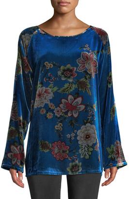 Johnny Was Karmen Long-Sleeve Floral-Print Velvet Tunic