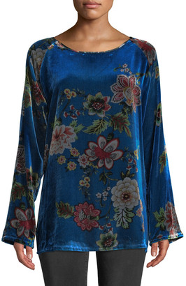 Johnny Was Karmen Long-Sleeve Floral-Print Velvet Tunic