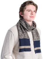 Muk Luks Men's Marled Knit Scarf With Sock-Style Stripe Ends