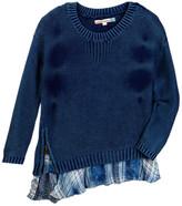 Vintage Havana Plaid Ruffled Bottom Wash Sweater (Big Girls)