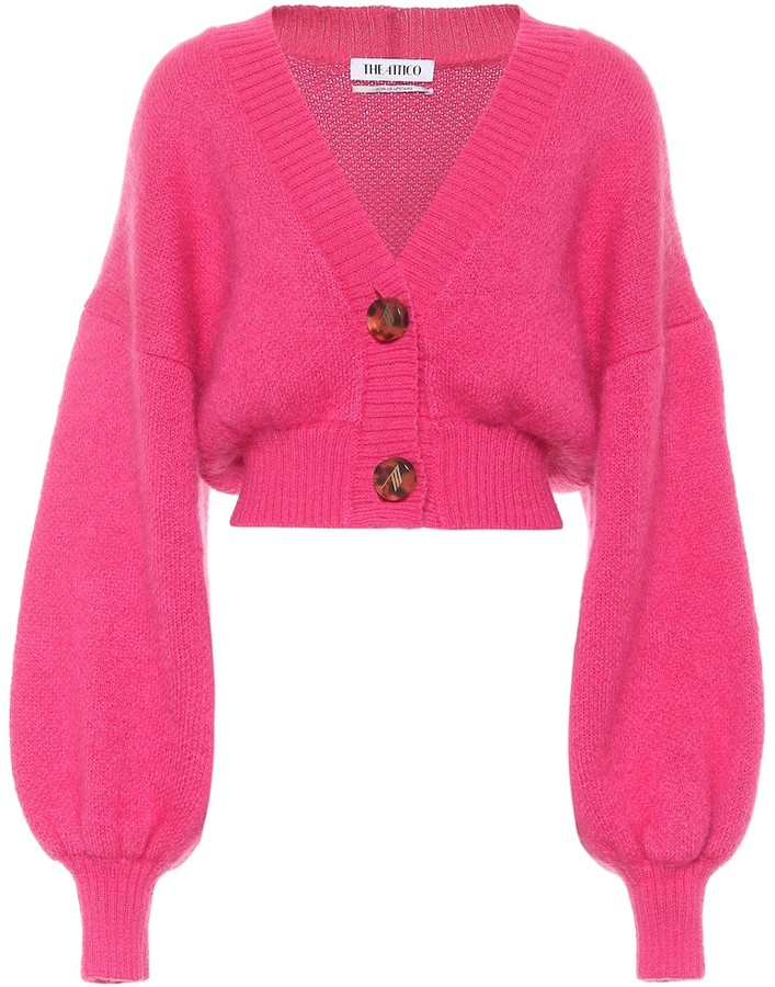 ATTICO Cropped mohair-blend cardigan