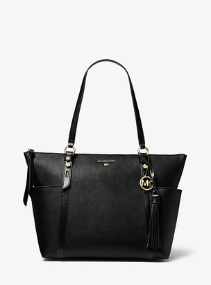 MICHAEL Michael Kors MK Sullivan Large Saffiano Leather Top-Zip Tote Bag - Black - Michael Kors