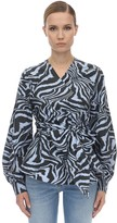 Ganni Printed Cotton Poplin Wrap Shirt
