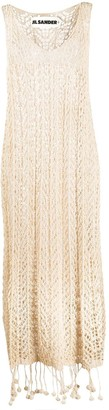 Jil Sander Pompom-Hem Sleeveless Crochet Dress